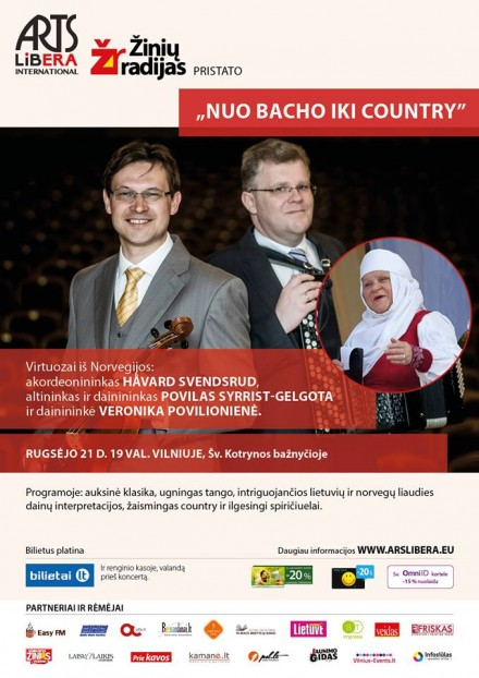 From Bach to country! September 21 Vilnius