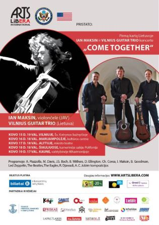 "Ian Maksin ir Vilnius guitar trio koncerte ""COME TOGETHER"" I kovo 15-19d."