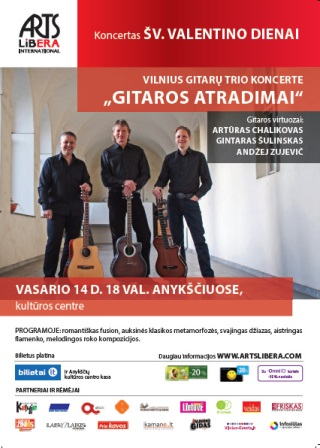 "Vilnius Guitar Trio in the concert ""Guitar discoveries"" I February 14th. Anykščiai"