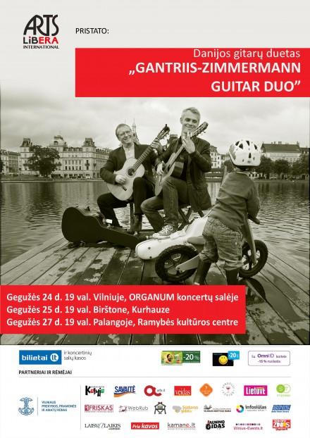 Gitaros virtuozai Gantriis-Zimmermann Guitar Duo (Danija) I Gegužės 24d. Vilnius, Gegužės 25d. Birštonas, Gegužės 27d. Palanga