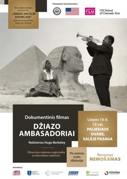 """Dokumentinio filmo """"Džiazo ambasadoriai"""" seansas liepos 16 d."""