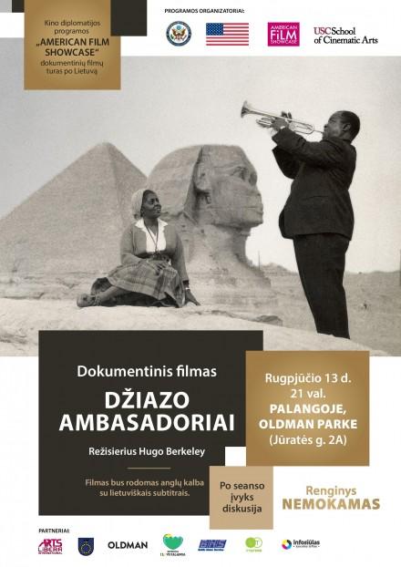 """Dokumentinio filmo """"Džiazo ambasadoriai"""" seansas rugpjūčio 13 d."""